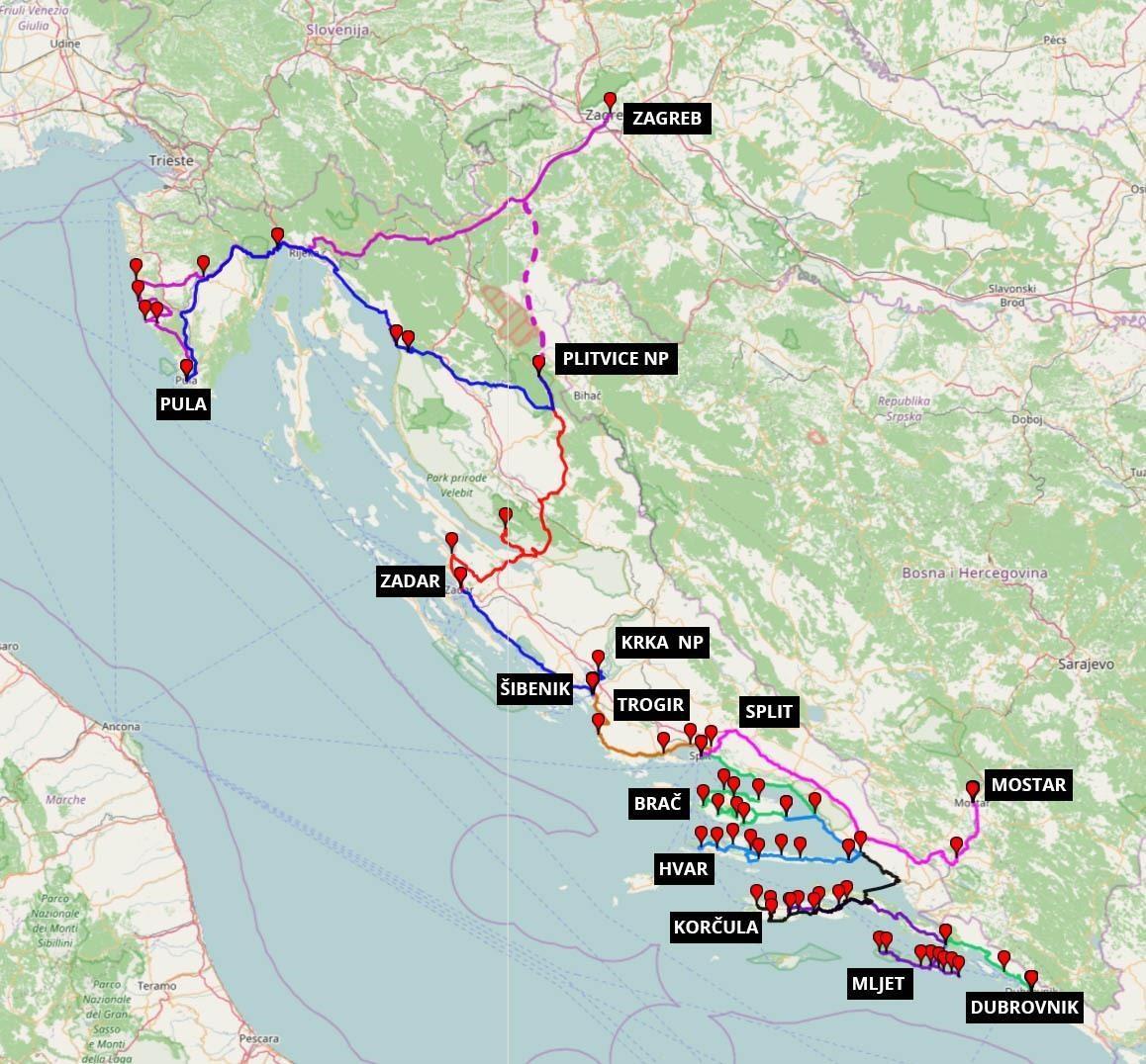 15 Daagse Rondreis Kroatie Uitgestippelde Route Reisschema Tips